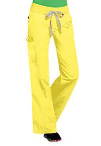 Peaches Comfort neon knit waist cargo scrub pants.