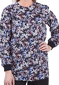 Landau Uniforms Scattered Blooms print scrub jacket.
