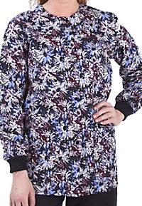 Landau Uniforms Scattered Blooms print scrub jacket.