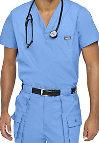 Landau Mens vented scrub top.