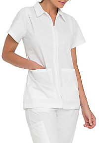 Landau student scrub top with pleated shoulders.