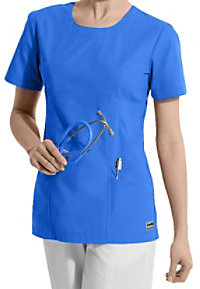 Landau antimicrobial scoop neck scrub top.