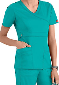 Dickies Gen Flex Youtility junior fit mock-wrap scrub top.