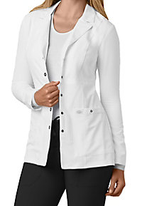 Dickies Xtreme Stretch snap front lab coat.