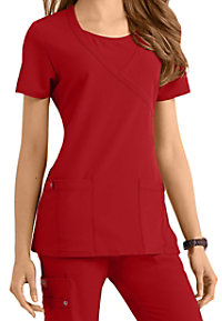 Dickies Xtreme Stretch mock-wrap scrub top.