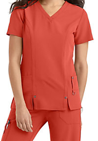 Dickies Xtreme Stretch v-neck scrub top with princess seams.