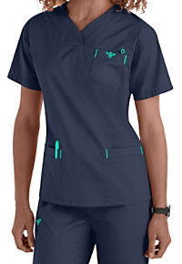 Med Couture Sport crossover v-neck scrub top.