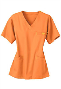 Med Couture neon v-neck scrub top.