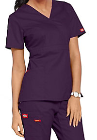 Dickies EDS signature missy fit mock wrap scrub top.