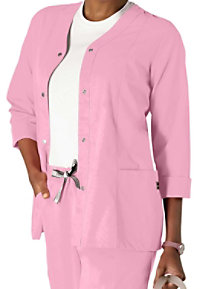 Landau antimicrobial warm-up scrub jacket.