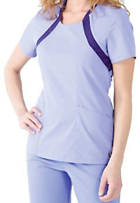 Urbane Sport knit trim scoop neck scrub top.
