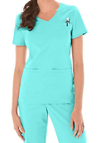 Urbane Sport pintucked crossover STRETCH scrub top.