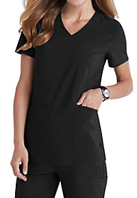 Landau Urbane Performance v-neck print scrub top.