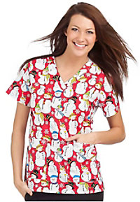 Peaches Winter Snowblast print scrub top.
