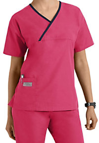 Urbane Essentials classic crossover scrub top.