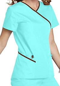 Urbane double pocket mock-wrap scrub top.