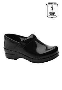 Dansko Professional patent leather nursing clogs.