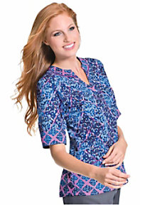 Live Sweet by Urbane Harlequin Dream print tunic style scrub top.