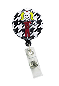 Initial This Houndstooth Nurse retractable badge holder.