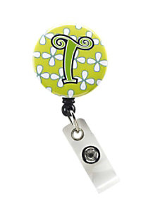 Initial This Yellow Floral retractable badge holder.
