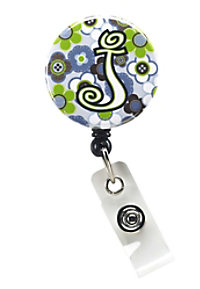 Initial This Blue Floral retractable badge holder.