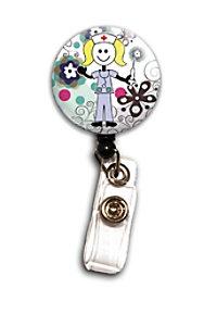Initial This Flora Stick Nurse badge holder.
