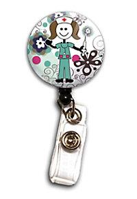 Initial This Flora Stick Nurse Badge Holders