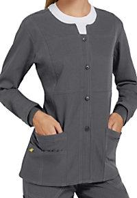WonderWink 4-Stretch button front scrub jacket.