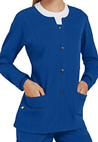 WonderWink Four-Stretch button front scrub jacket.