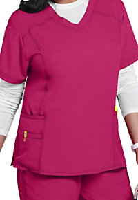 WonderWink Plus curved v-neck scrub top.