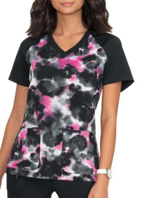 Cheetah Tie Dye Flamingo V-Neck Print Top