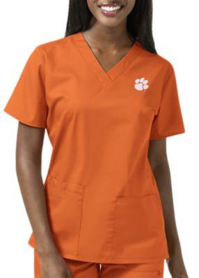 WonderWink Collegiate Clemson Tigers Women's V-Neck Scrub Top