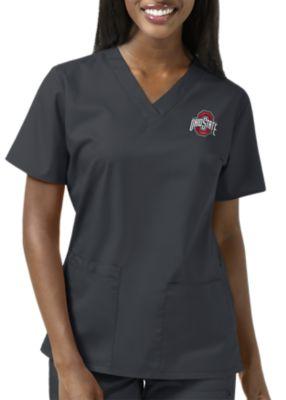 WonderWink Collegiate Ohio State Buckeyes Women's V-Neck Scrub Top