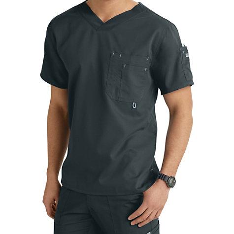 Greys Anatomy Mens 3 Pocket High V Neck Scrub Tops Uniform City