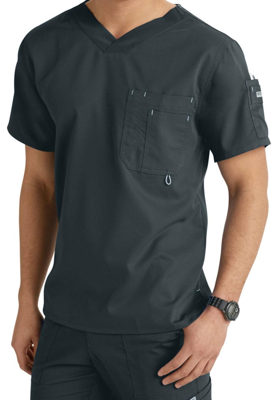 7825c483a2e Grey's Anatomy Men's 3 Pocket High V-neck Scrub Tops | Uniform City
