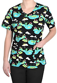 Tasha and Me Spring Forward V-neck Print Scrub Tops