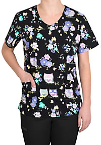 Tasha and Me Look Who's Here V-neck Print Scrub Tops
