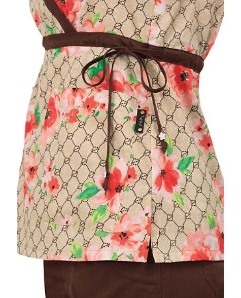 Koi kathryn designer floral mock wrap print scrub tops for Koi warehouse sale