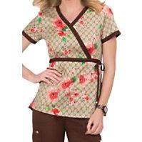 Koi Kathryn Designer Floral Mock Wrap Scrub Tops