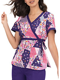 Patch It Up Mock Wrap Print Top