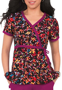 Koi Kathryn Shaded Garden Mock Wrap Print Scrub Tops