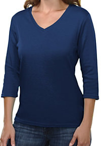 Tri-Mountain Mystique Ladies 3/4 Sleeve V-neck Scrub Tees