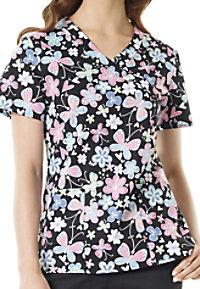 Zoe + Chloe Butterfly Bliss Print Scrub Tops