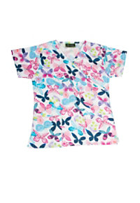 Bonita April Butterfly Print Scrub Tops