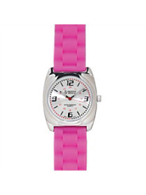 Pink Braided Silicone Band Watch
