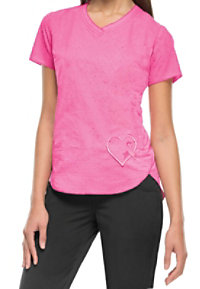 HeartSoul Girls Love Pink Breast Cancer Awareness V-neck Scrub Tops