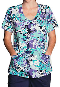 Tasha and Me Fresh Floral Mock Wrap Print Scrub Tops