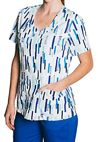 Tasha and Me Sketch Marks Mock Wrap Print Scrub Tops