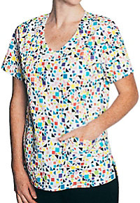 Tasha and Me Geo Confetti Mock Wrap Print Scrub Tops