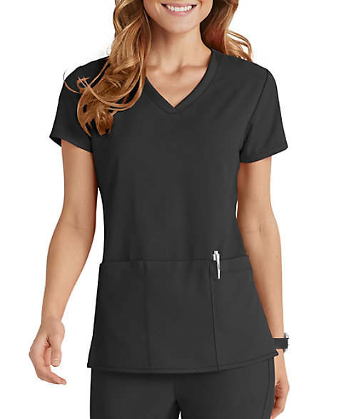 Greys Anatomy Signature 3 Pocket Criss Cross V Neck Scrub Tops